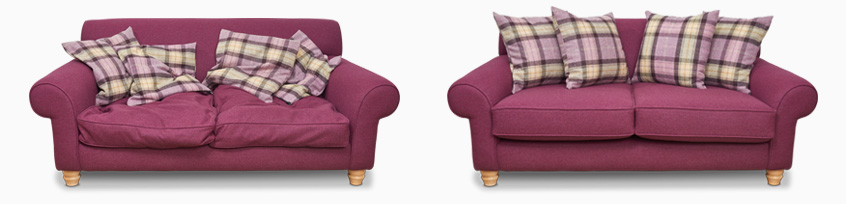 Sofas before and after the FFC cushion refiiling service